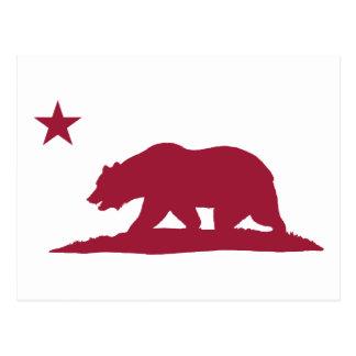 California Republic Bear - Red Postcard