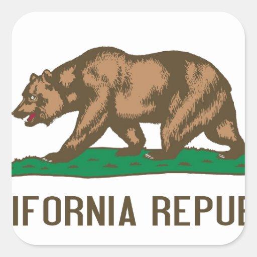 California Republic Bear State Flag Square Sticker