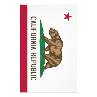 California Republic Bear State Flag Stationery