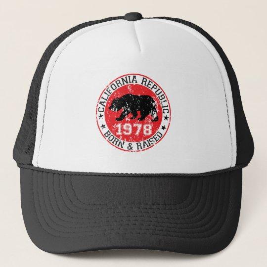 California republic born raised 1970 trucker hat