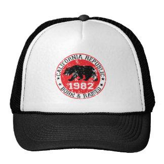 California republic born raised 1980 trucker hat