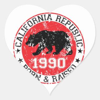 california republic born raised 1990 heart stickers