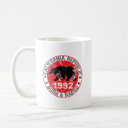 california republic born raised 1992 classic white coffee mug