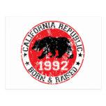 california republic born raised 1992 postcard