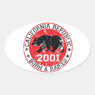 california republic born raised 2001 oval sticker