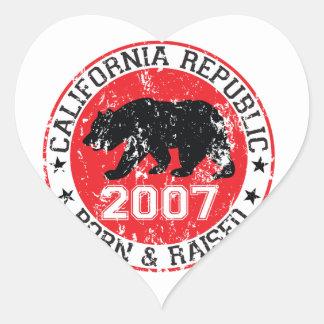 california republic born raised 2007 heart sticker