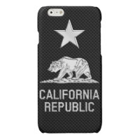 CALIFORNIA REPUBLIC Chrome on Carbon Fiber Print Glossy iPhone 6 Case