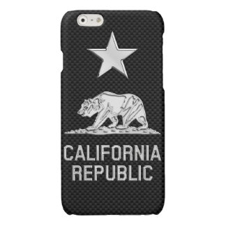 CALIFORNIA REPUBLIC Chrome on Carbon Fiber Print Glossy iPhone 6 Case