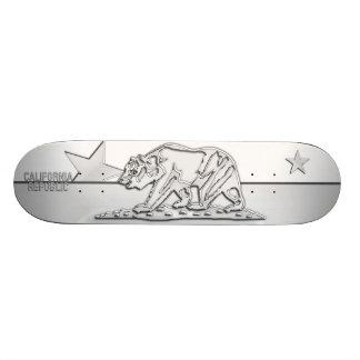 CALIFORNIA REPUBLIC Chrome on White Fitted Designs Skateboard Deck
