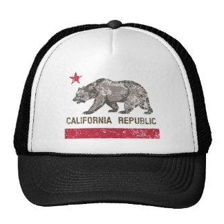 california republic distressed trucker hat