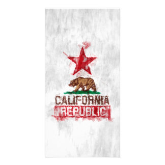 California Republic Flag Bear in Painterly Style Card