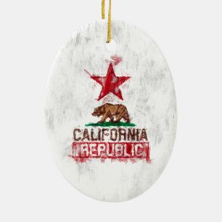 California Republic Flag Bear Painting Style Decor Ceramic Ornament