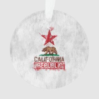 California Republic Flag Bear Painting Style Decor Ornament
