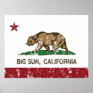 California Republic Flag Big Sur Poster