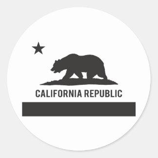 California Republic Flag - Black Classic Round Sticker
