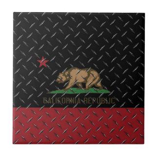 California Republic Flag Black Diamondplate Ceramic Tile
