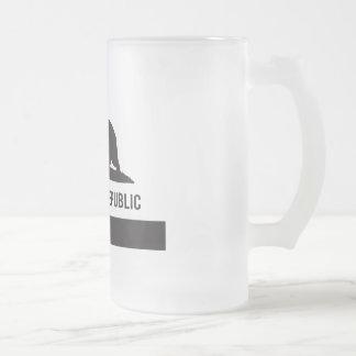 California Republic Flag - Black Frosted Glass Beer Mug