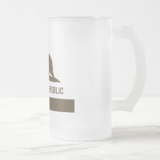 California Republic Flag - Brown Frosted Glass Beer Mug