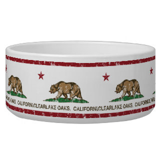 California Republic Flag Clearlake Oaks Dog Water Bowl
