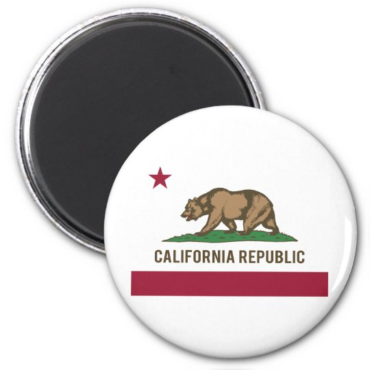 California Republic Flag - Color 2 Inch Round Magnet