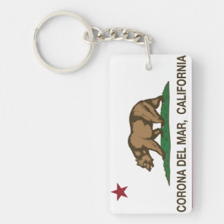 California Republic Flag Corona Del Mar Double-Sided Rectangular Acrylic Keychain