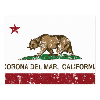 California Republic Flag Corona Del Mar Postcard