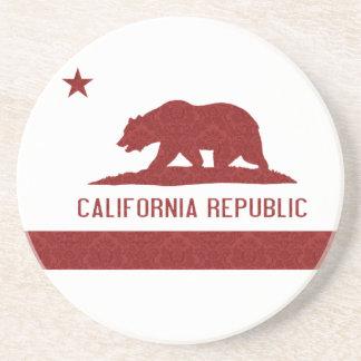 California Republic Flag Damask Pattern Beverage Coasters