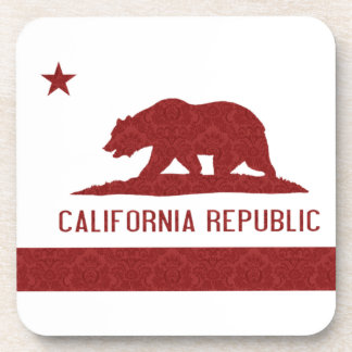 California Republic Flag Damask Pattern Coaster