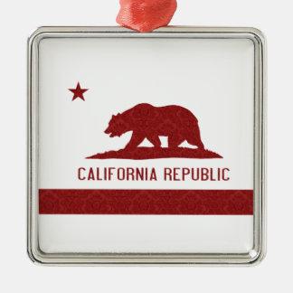 California Republic Flag Damask Pattern Metal Ornament