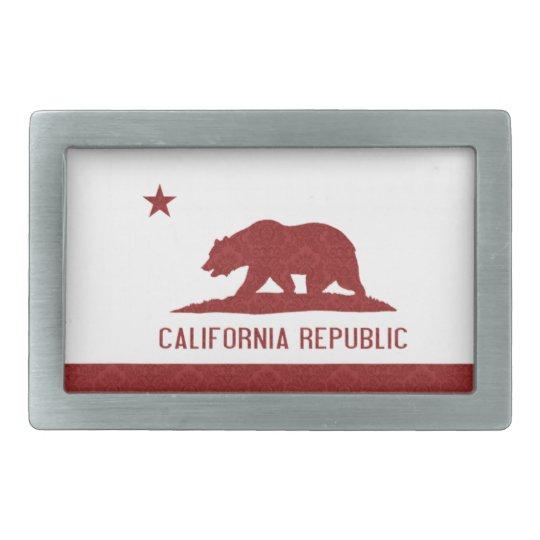California Republic Flag Damask Pattern Rectangular Belt Buckle