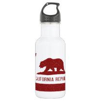 California Republic Flag Damask Pattern Stainless Steel Water Bottle