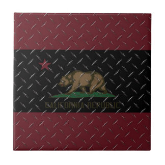 California Republic Flag Diamond Plate Black Ceramic Tiles