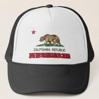 California Republic Flag Distressed Look Trucker Hat