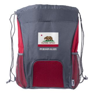 California Republic flag drawstring backpack