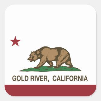 California Republic Flag Gold River Square Sticker