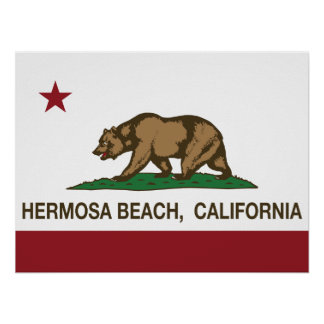 California Republic Flag Hermosa Beach Poster