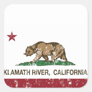 California Republic Flag Klamath River Square Sticker