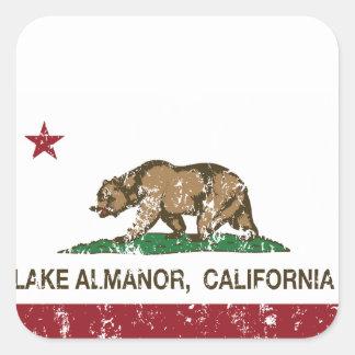 California Republic Flag Lake Almanor Square Sticker