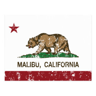 California Republic Flag Malibu Postcard