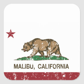 California Republic Flag Malibu Square Sticker
