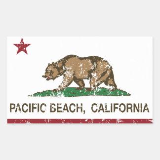 California REpublic Flag Pacific Beach Rectangular Sticker