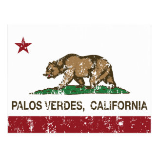 California Republic Flag Palos Verdes Postcard