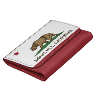 California Republic Flag Signal Hill Leather Wallet For Women