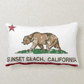 California Republic Flag Sunset Beach Throw Pillow