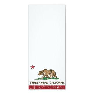 California Republic Flag Three Rivers 4x9.25 Paper Invitation Card