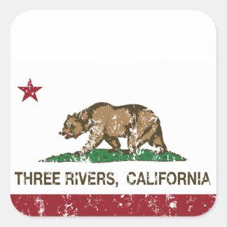 California Republic Flag Three Rivers Square Sticker