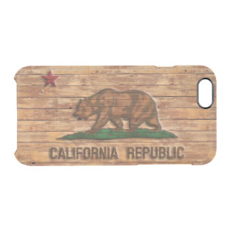 California Republic Flag Vintage Wood Design Uncommon Clearly™ Deflector iPhone 6 Case
