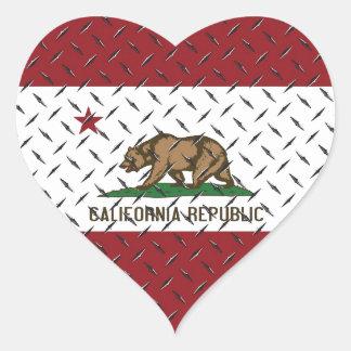 California Republic Flag White Diamondplate Heart Sticker