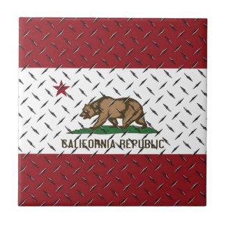 California Republic Flag White Diamondplate Ceramic Tiles