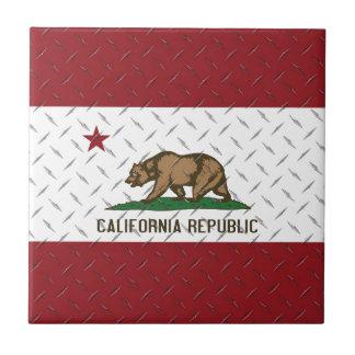 California Republic Flag White Diamondplate Tile